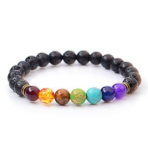 2017 Vulkan Armband Mode Großhandel natürliche Lava Vulkan, Tigerauge, Laipse, Amethyst Stein mit sieben Farbe Stein Perlen Armband Armreif