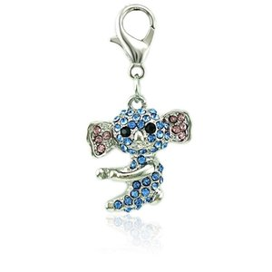 Fashion Animal Lobster Clasp Charms Dangle Blue Rhinestone Pet Dog DIY Charms For Jewelry Making Accessories