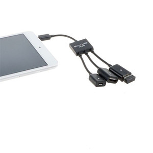3 в 1 Micro USB мощность зарядки OTG концентратор кабель адаптер конвертер Расширитель для мобильных телефонов для Samsung Galaxy 50 шт.