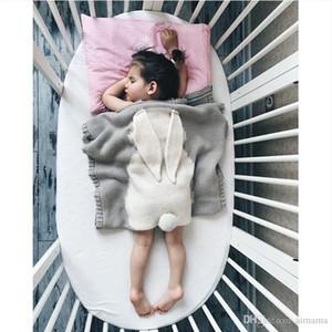 Populaire bébé garçon filles Flanelle couvertures climatisation tricot gris Blanket bébé Enfants 75 X 105cm Nursery Literie Cartoon Couverture de lapin