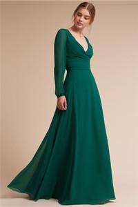 그린 신부 들러리 드레스 딥 브이 넥 덮여 버튼 전체 슬리브 얇은 명주 그물 길이 공식적인 이브닝 드레스 가운 데모 스텔라 드 honneur