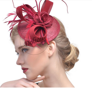 Top Selling 2017 Modest Women Fashion Sinamay Fascinator Hats With Feather Floral Handmade European Style For Church  Party Wedding