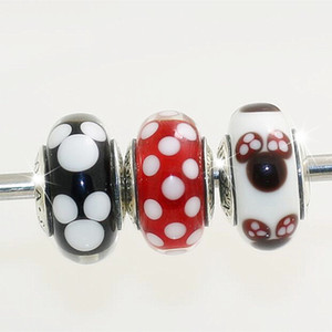 Hot 3 unids / lote S925 plata esterlina hilo Murano Glass Beads Fit europeo Pandora estilo charm pulseras collares