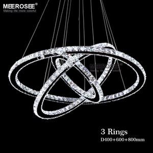Anello di cristallo di diamante LED Lampadario di cristallo Lampada moderna di cristallo Light Fixture Circle Hanging Lustres LED Luminaire illuminazione domestica