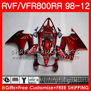 VFR800 für HONDA Interceptor VFR800RR 98 99 00 01 02 03 04 12 90HM1 VFR 800 RR 1998 1999 2000 2001 2002 2003 2004 2012 Verkleidung HOT Wine red