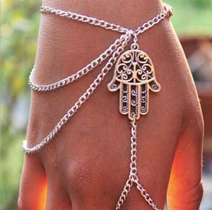 Braccialetti New Style Steamed Asimmetrico Donne Hamsa Fatima Bracciale Finger Ring Slave Chain Hand Harness Bracciali Charm Charms Chain Charm
