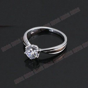 Toptan Takı 1CT Kalite Gümüş Tektaş Yüzük Prongs Garanti Kadınlar için Sentetik Elmas 925 Yüzük Düğün 925 Trendy Jewel