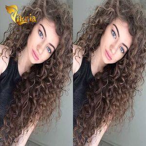 Brown Onda profunda pelucas llenas de encaje indio peruano Malasia Brasileño Brasiliana Pelucas delanteras del encaje del cabello humano