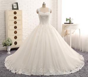 Neue Ankunfts-erstaunliche lange Hochzeits-Kleid-Schatz-Ansatz-Kappen-Hülsen-Kapellen-Zug-Ballkleid-Braut-Kleider Robe de Mariee 2019