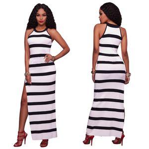 Uzun Elbiseler Kadınlar Yaz Yüksek Bölünmüş Kolsuz Casual Moda Siyah ve Beyaz Baskılı Seksi Slim Fit Maxi Elbise Çizgili
