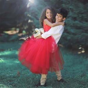 Vestidos de niña de flor roja de la boda Vestidos de noche de niños africanos Vestido de bebé Vestidos de primera comunión Niñas de desgaste formal