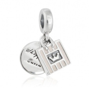 New Dangle Shopping Queen Charms Pendants 925 Sterling Silver Enamel Crown Bag Beads For DIY Charm Bracelets Jewelry Making Accessories