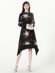 New Plus Size Femmes Floral Print Dress Femmes musulmanes Irrégulières À Manches Longues Tops avec Ceinture Robe