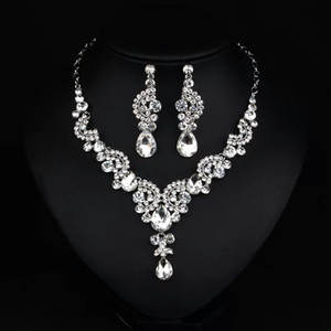 Luxury Crystal Rhinestone Necklace Jewelry Sets Bridal Necklaces and Earrings For Prom Pageant Party Wedding EN920