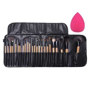 24 stücke Professionelle Make-Up Pinsel Lidschatten Wimpern Puder Make-Up Pinsel Sets Brocha Maquillaje mit Tasche + Kosmetische Schwamm Puff