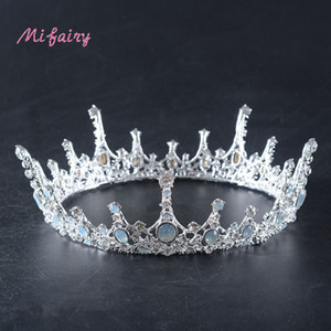 Stunning Silver White Crystals Full Wedding Tiaras And Crowns Bridal Tiaras Accessories Vintage Baroque Bridal Tiaras Crowns H07