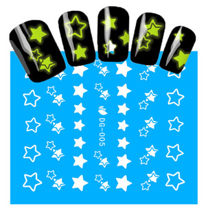 Wholesale- 1Sheets NEW Luminous Nail Stickers Star Pattern Glitter Nail Art Decals Manicure Tips Decoration DIY Fashion Accessories DG005