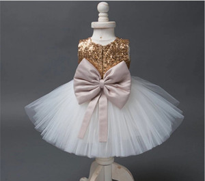 2017 Fashion Girls Paillettes Princess Dress Cute Girl Lace Garu Tutu Dresses Bambini senza maniche Vest Stitching Dress Bambini Abiti da compleanno