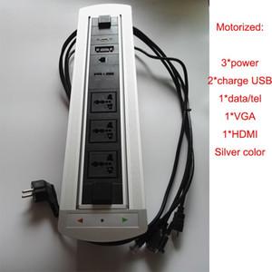 Скрытый электрический флип настольное гнездо флип вверх электрический вращающийся столешница гнездо для продвинутый стол для ноутбука, черный / серебристый