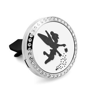 CZ081-CZ090 sparking angel Car Perfume Diffuser Locket Vent Clip 316L Stainless Steel Pendant Car Air Freshener Magnetic 5pcs Felt Pads