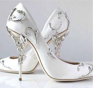 Ralph Russo Silver Leaf Marke Brautkleid Braut Pumpen für Frauen dünne hohe Absätze weiße Satin-Damen Pumps Slip on Fest Einzel-Schuhe