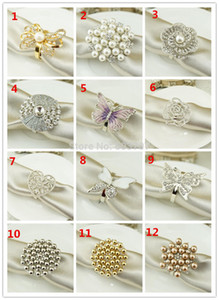 Free Shipping 100 pcs Luxury Pearl and Rhinestone Napkin Ring Napkin Holder With Free Shipping Price