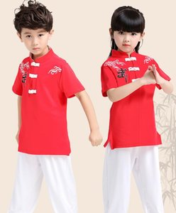 Children 's martial arts costumes summer boys and girls tai chi practice martial arts training short - sleeved martial arts performance suit