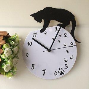 Wholesale- Hot Sales Acrylic DIY Black Clcok Cat Feet Small Movement Quartz Art Home Decor Smart Wall Clock Novelty 28*30CM