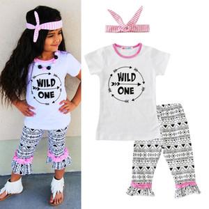 2017 Yeni Bebek Kız Giyim Setleri Kısa Kollu tişörtleri Baskılı Pantolon 2 Parça Set Mektuplar Ok Çocuk Giysileri Takım Elbise Butik Giyim
