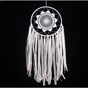 Blanco Hecho A Mano Macrame Dream Catcher Colgante de Pared Home Car Decor Ornamento Hoop Feather Dreamcatcher Colgando Artesanía Decorativa