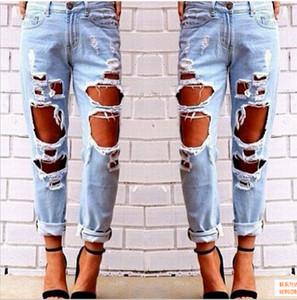 Jeans déchirés Denim Joggers Trous Aux Genoux Slim Fit Jeans Pour Femmes Bleu Rock Star Womens Jumpsuit Détruit Jeans Boyfriend Crayon Pantalon