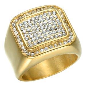HipHop Mikro Açacağı Rhinestone Buzlu Out Bling Kare Yüzük IP Altın Erkekler için Dolgulu Titanyum Paslanmaz Çelik Yüzük