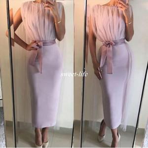 Modern Ayak Bileği Uzunluk Kokteyl Elbiseleri Kılıf Bateau Boyun Kolsuz Kanat Saten 2020 Overskirt ile Ucuz Kısa Kulübü Parti Elbise Abiye giyim