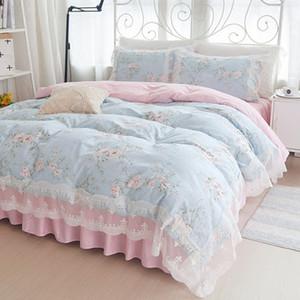 Korean Princess bedding set cotton 4pcs girl lace duvet cover set Bed sheet pillowcases wedding bedclothes linen king queen size