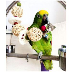 Juguetes para pájaros Jaula de loro Juguetes Jaulas Cacatúa Conure Loofah Esponja Hecho a mano Loro Juguetes con campana