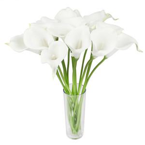 300 unids / lote Real Touch Flores Artificiales de la Boda Flores Decorativas Calla Lily Fake Flowers Wedding Party Decoración Accesorios