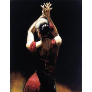 امرأة اليدوية فن اللوحات راقصة الفلامنكو باللون الأحمر النفط على قماش اللوحة ل ديكور المنزل