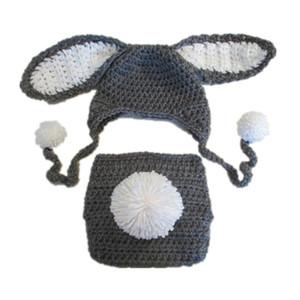 Sevimli Bebek Paskalya Bunny Kıyafet, El Yapımı Örgü Tığ Erkek Bebek Kız Gri Tavşan Ponpon Şapka ve Bezi Kapak Seti, Bebek Yenidoğan Fotoğraf Prop