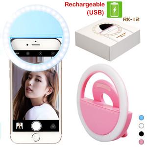 RK12 Recargable Selfie Ring Light con cámara LED Fotografía Flash Iluminar Selfie Anillo luminoso con cable USB Universal para todos los teléfonos