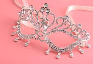 Fatti a mano in cristallo trasparente maschera per gli occhi con strass reale veneziana mascherata da sposa da sposa maschili per feste di ballo in argento metallo per occhiali da vista favori