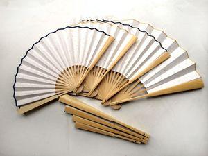 """DIY Blank El Fan 7"""" 8"""" 9 '10' Yetişkin Hat Güzel Sanatlar El Boyama Programları Çin pirinç Kağıt Katlama Bambu Hayranları El Sanatları Hediyelik"""
