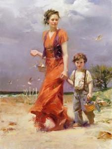 Pino, Sahilde Bir Gün, coa Plaj Sahnesi, El Boyalı Empresyonist Portre Sanat Tuval Üzerine Yağlıboya Resim.