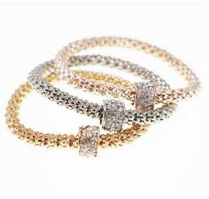 2017 Bracciale in lega a prova di esplosione perline con diamanti perline Bracciale con catena di mais placcatura in tre colori un set