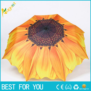 Зонт от солнца открытый анти-УФ серебристый пластик подсолнечника творческий трехкратный солнечный складной зонт