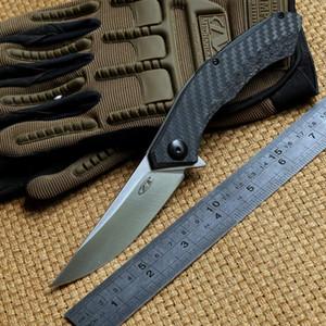 ZT 0460 CF D2 lame en fiber de carbone titane poignée balle Roulement tactique flipper couteau pliant outdoor gear survie camping couteaux EDC outils
