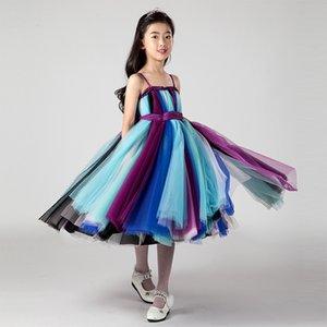 2017 Nouveau mignon Jolie partie colorée de thé arc-en-fleur fille filles Longueur de bal d'anniversaire Pageant Robes Filles Chirstmas Robes