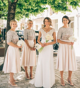 2020 Yeni Allık Gelinlik Modelleri Yarım Kollu Sequins Onur Elbise Elbise Elbise Vintage Çay Boyu Balo Parti Abiye