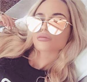 Aimade 2020 Новый Cat Eye Солнцезащитные очки Женщины Brand Модельер Twin-Балки розовое золото зеркало Cateye ВС Очки Женский UV400