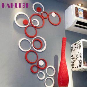 Al por mayor de Círculos Decoración Interior estéreo pared del arte 3D extraíble etiqueta de habitación de los niños cartel de la etiqueta DIY de la decoración del hogar adesivo de parede