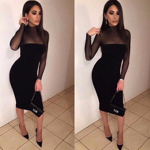 Wholesale- new arrival 2017 autumn women hot sexy see-through night club dress long-sleeve bodycon patchwork black pencil dresses AT074